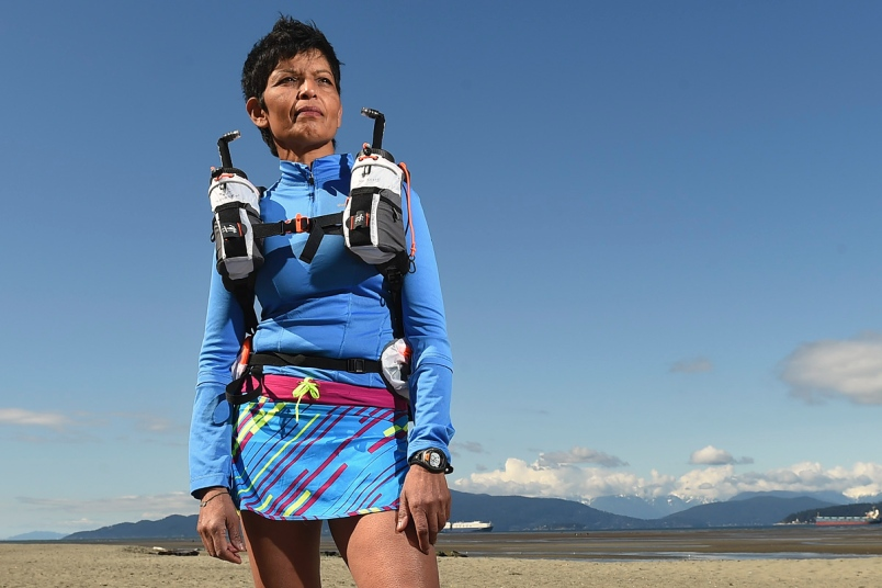 At 59 years of age, Pushpa Chandra could be the oldest Canadian woman to complete the famously difficult Marathon Des Sables, which begins in the Sahara Desert in the south of Morocco April 9, 2017. Photo Dan Toulgoet